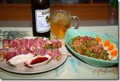 ยำถั่วพลู, เบคอนและแฮมพันเห็ดกับหน่อไม้ฝรั่ง กินแกล้มเบียร์เย็นๆ ชื่นใจดี